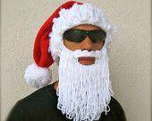 Crochet Beard Hat shaggy beard beanie The Original Beard Beanie™ in dark brown and burnt orange #crochetedbeards