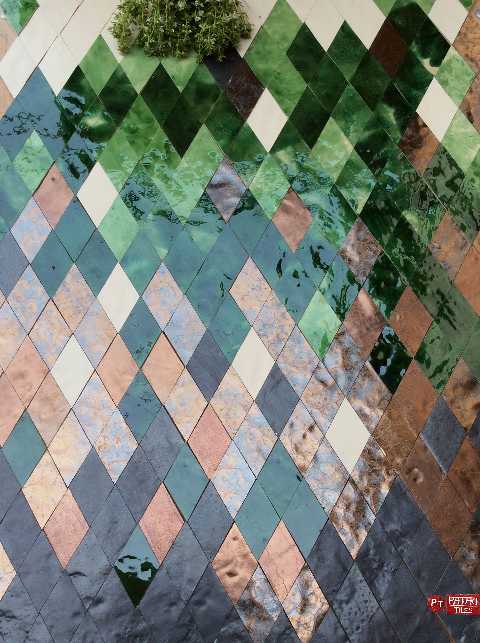 Green Geometric Floor Tiles