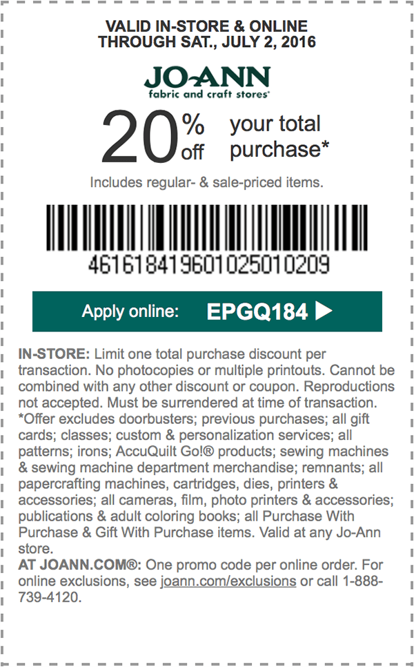 Jo-Ann Fabric #Coupons 20% off your total purchase* thru 7/2 @ joann ...