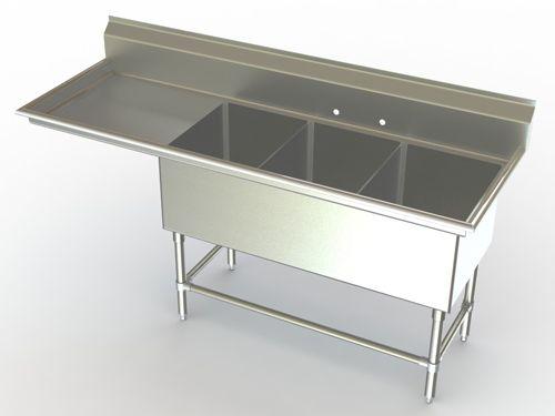 Triple Bowl Commercial Sinks Metal Sink Commercial Stainless Steel Sink Drainboard Sink