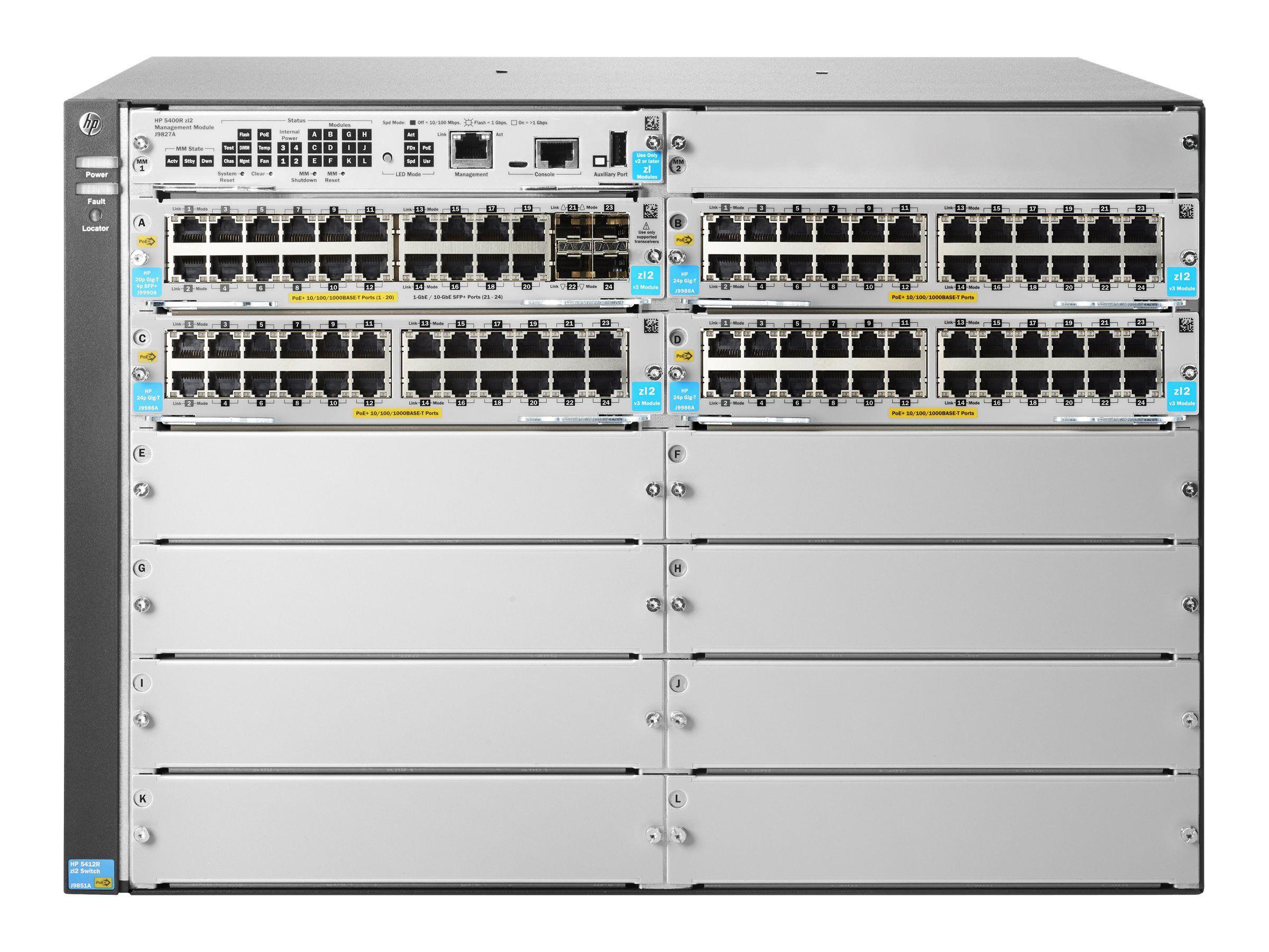 Aruba 5412R 92GT PoE+ 4SFP+ v3 zl2 Switch - managed