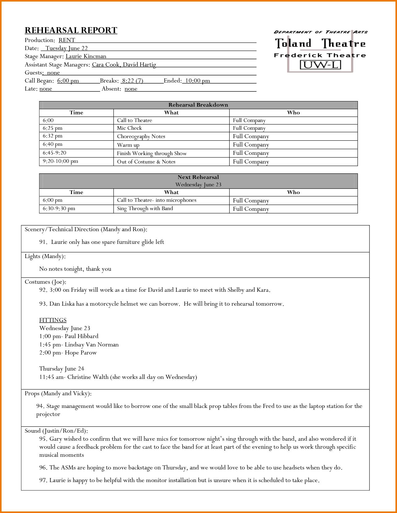 Rehearsal report template editable digital expense stage manager rehearsal report template editable digital expense report template templates home design free maxwellsz