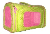 This adorable little pet carrier is a great way to take your little puppy all the places that you go. This little carrier Features: Metal feet Removable bottom board for easy cleaning Each end has zippered and mesh sides Approx Size: 16 (L) X 10(H) X 9(W).  $28.99 at Wholesaleprincess.com