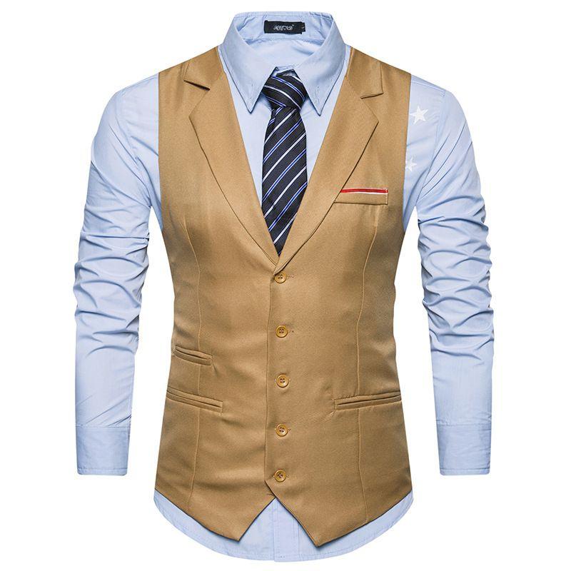 2dedca06ea3283 Mlg Mens Slim Fit Notched Lapel Vest Button Front: Buy Waistcoats at  Factory Price -