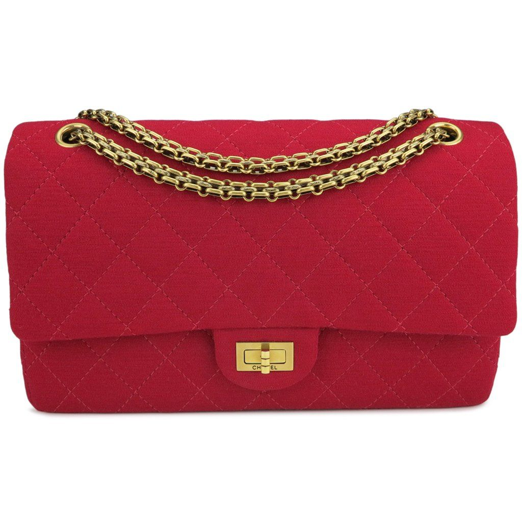 2 55 Reissue Flap Bag Size 226 In Red Jersey In 2020 Chanel