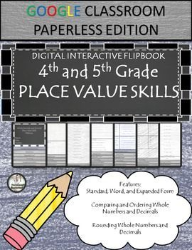 4th and 5th Grade Place Value Practice!This product contains:*One contains the links and instructions for the Flipbook to share with your students.*Answer Key included. GO PAPERLESS!The Flipbook6 Skills that are included:*Using Standard Form-20 problems*U