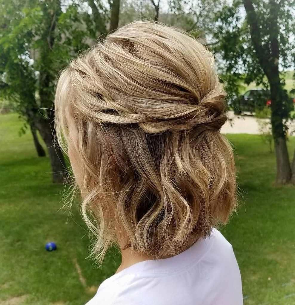 Updo Hairstyles With Veil Bridesmaid Uphairdos Updos For Medium Length Hair Medium Length Hair Styles Short Hair Updo