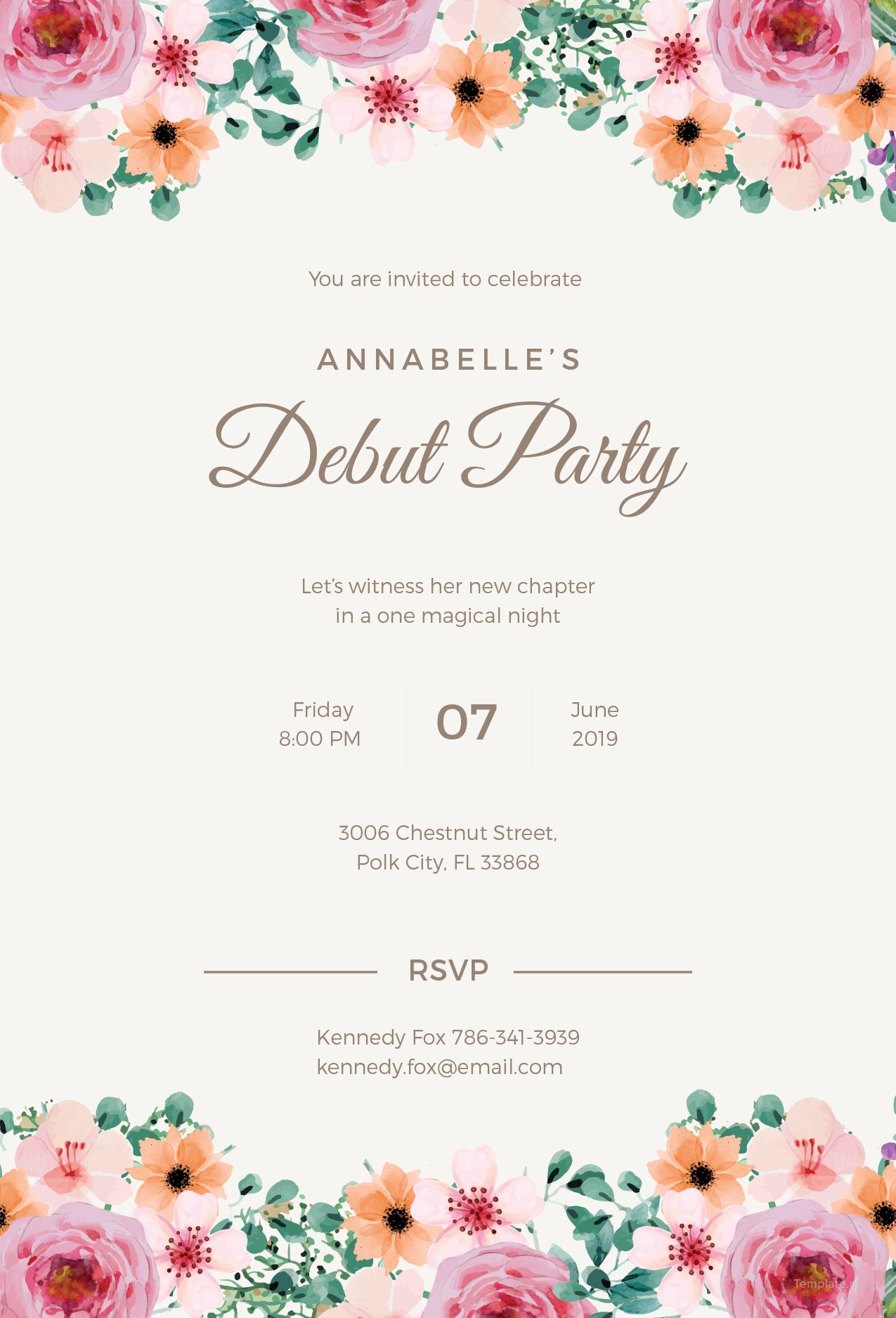 FREE Formal Debut Invitation Template - Word (DOC)  PSD