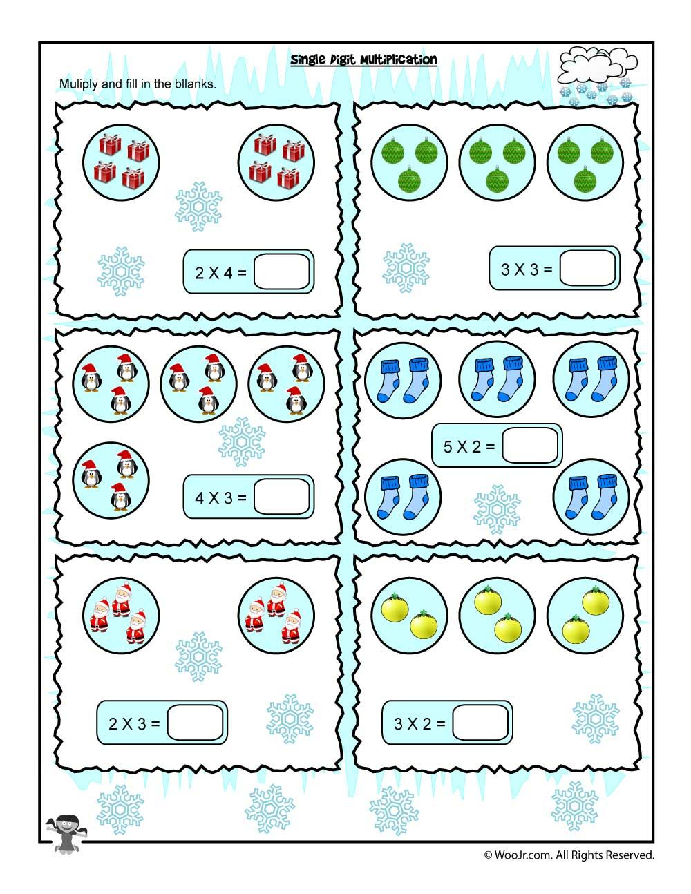 Single Digit Visual Counting Multiplication Worksheet | Math ...