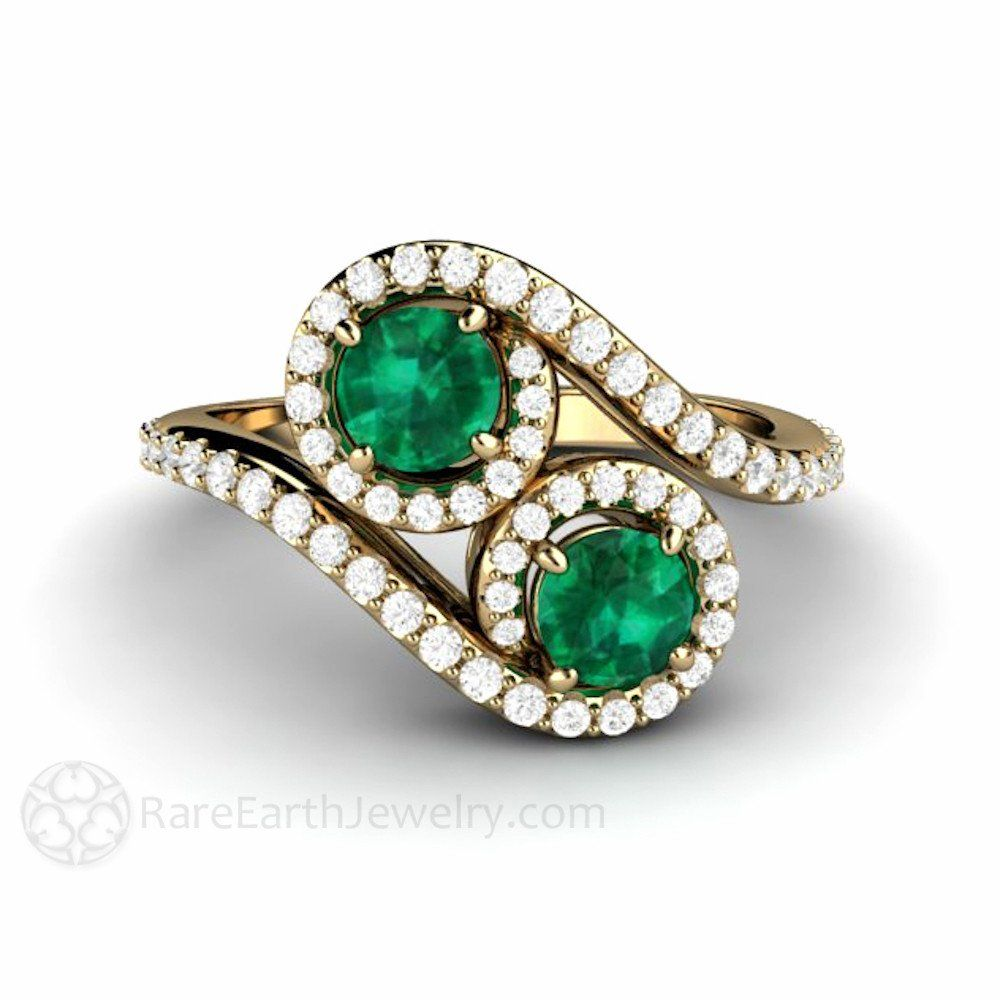 Emerald Engagement Ring  Toi Et Moi Two Stone Vintage Style Bypass From  Rare Earth Jewelry