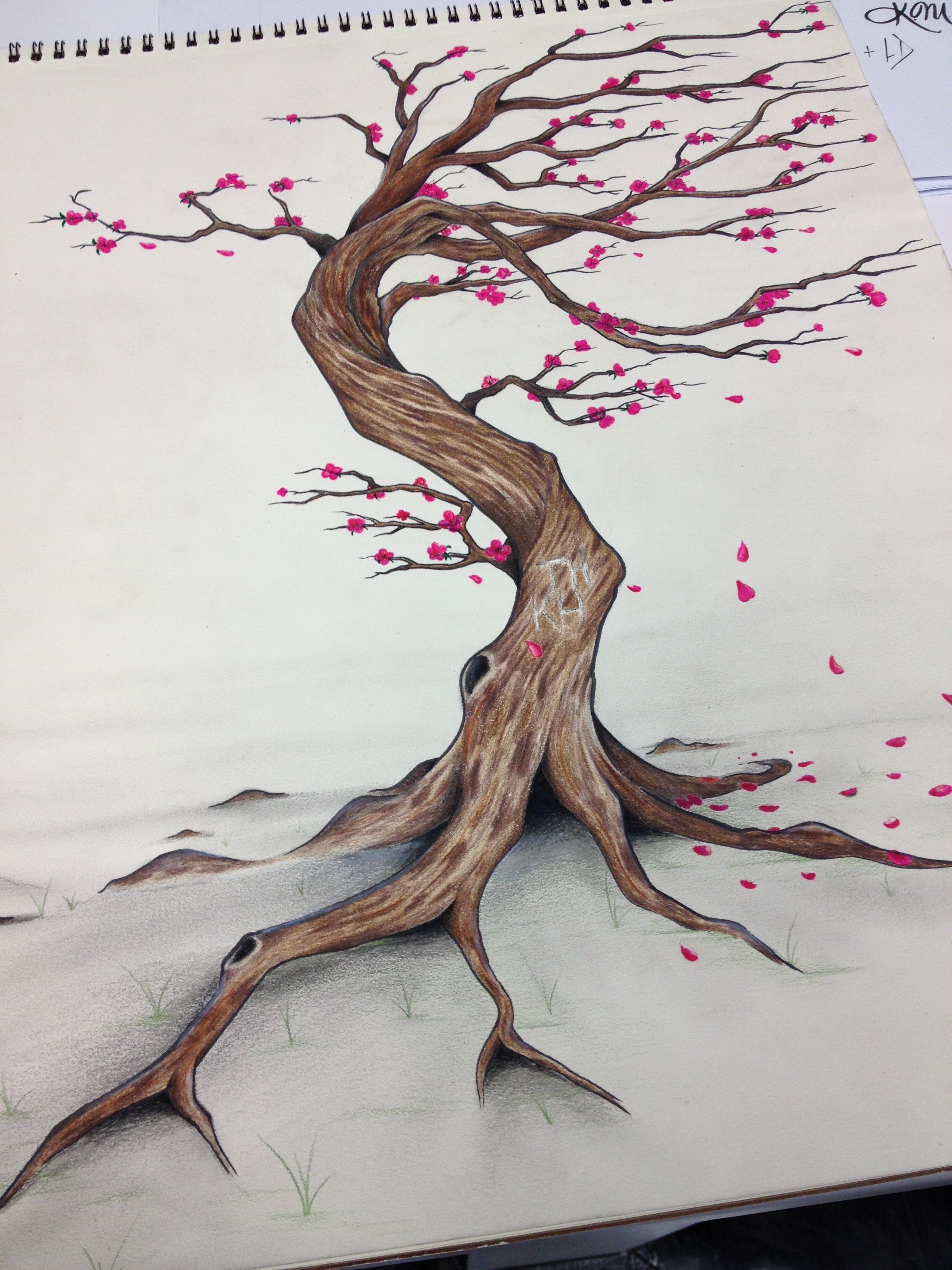 Cherry Tree Blowing In The Wind Drawings In 2019 Wind
