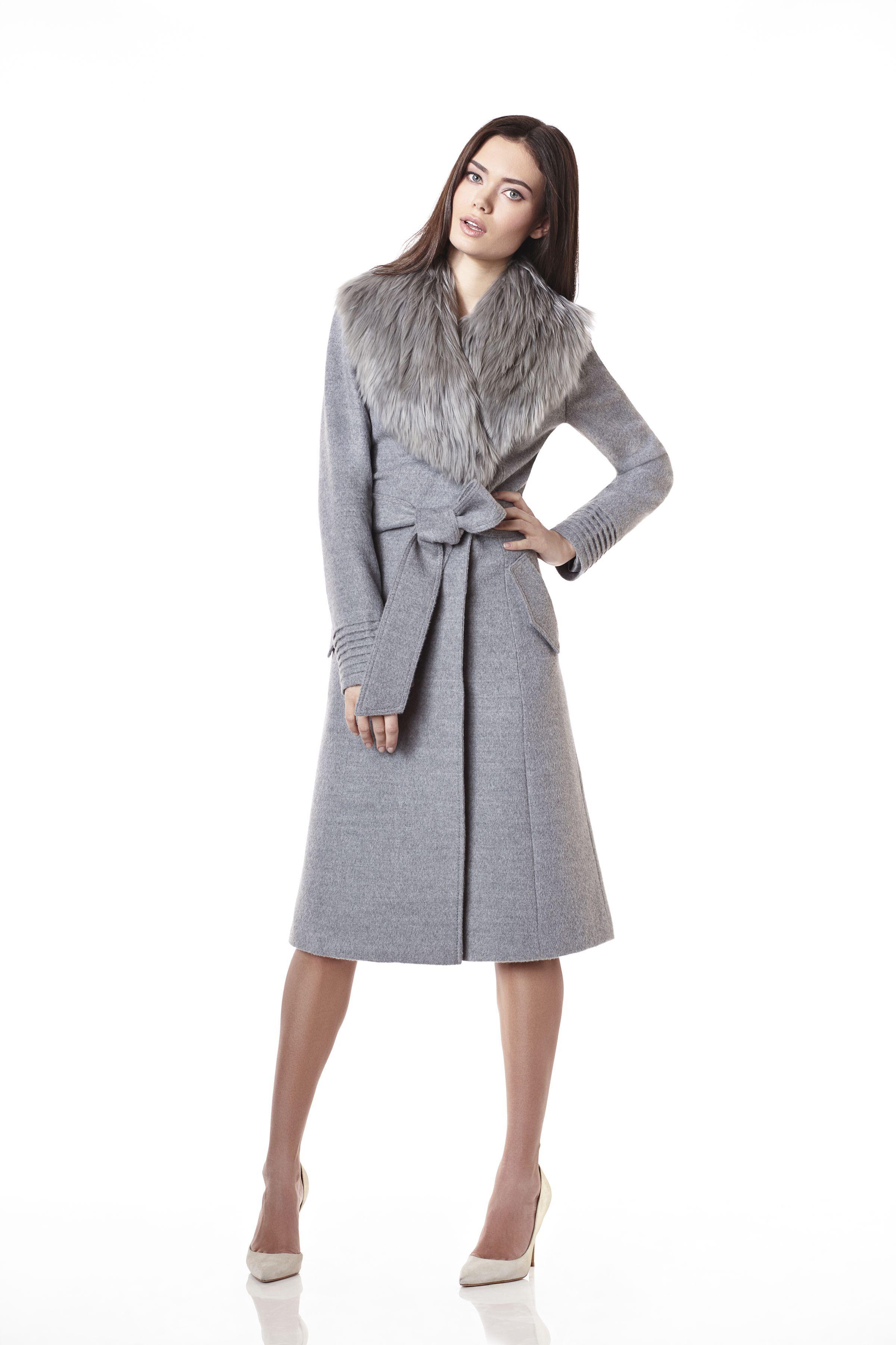Long Coat with Baby Alpaca Fur Collar | Sentaler Luxury Designer ...