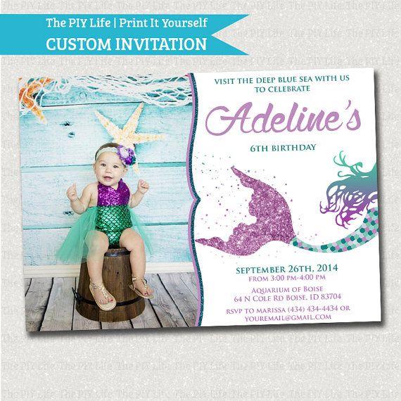 Glitter siren mermaid under the sea birthday invitation with photo glitter siren mermaid under the sea birthday invitation with photo printable diy no i195 solutioingenieria Images