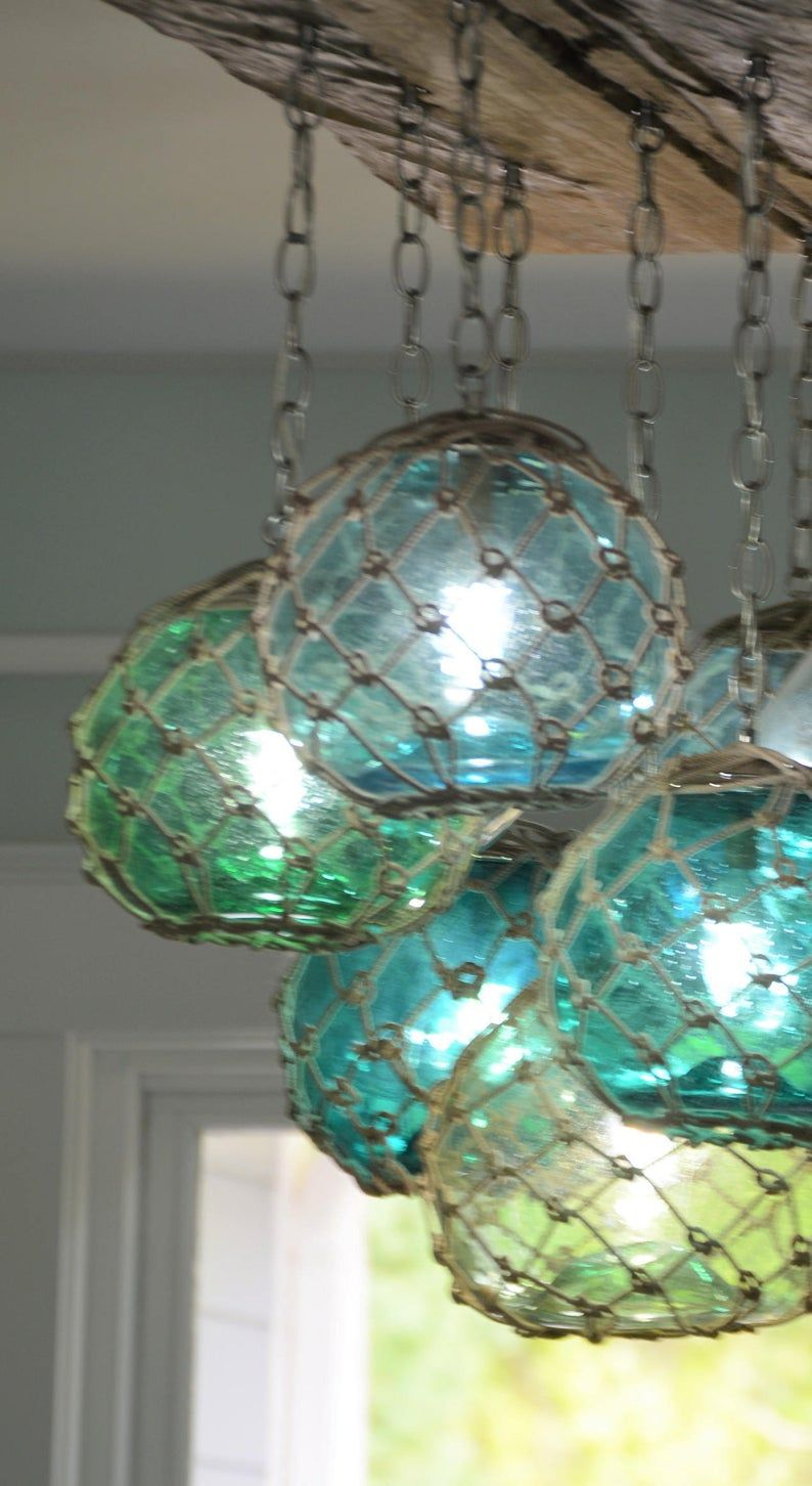 Glass Fishing Float Light Fixture Chandelier With 7 Floats Etsy In 2021 Glass Fishing Floats Light Fixtures Glass Floats