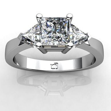 Three Stone Engagement Ring With Trillion Diamonds In Platinum Three Stone Engagement Rings Three Stone Engagement Stone Engagement Rings