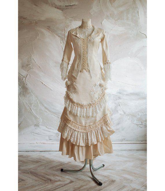 Victorian Wedding Silk Dress Historical Dress Jacket And Bustle
