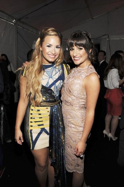 Demi Lovato with GLEE's Lea Michele at the FOX Upfronts in NY.  My Girls ♥