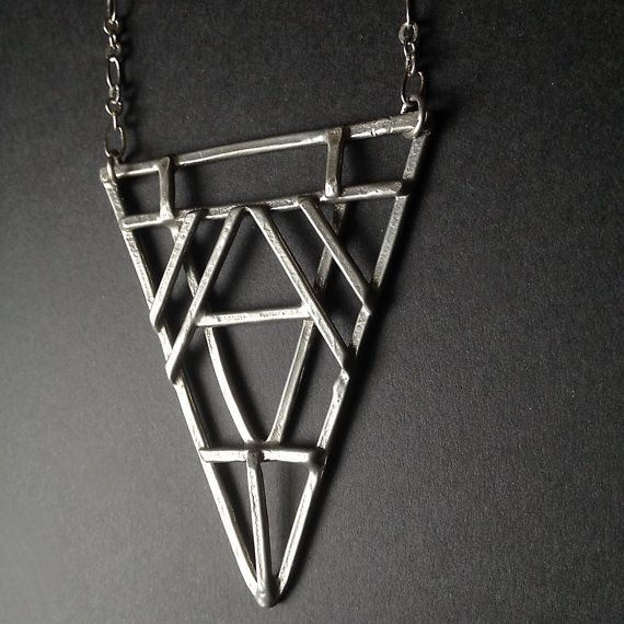 Pewter Tri Geometric Necklace  Art Deco Revival by JamieSpinello