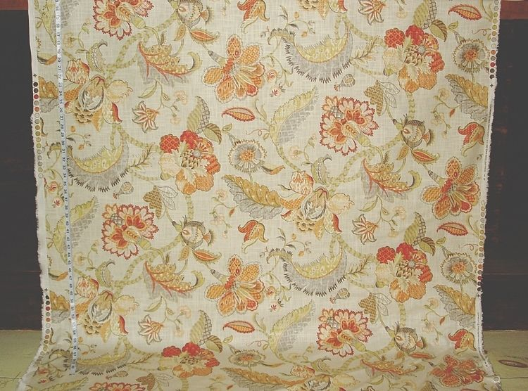 Indienne fabric Jacobean floral orange from Brick House Fabric: Novelty Fabric