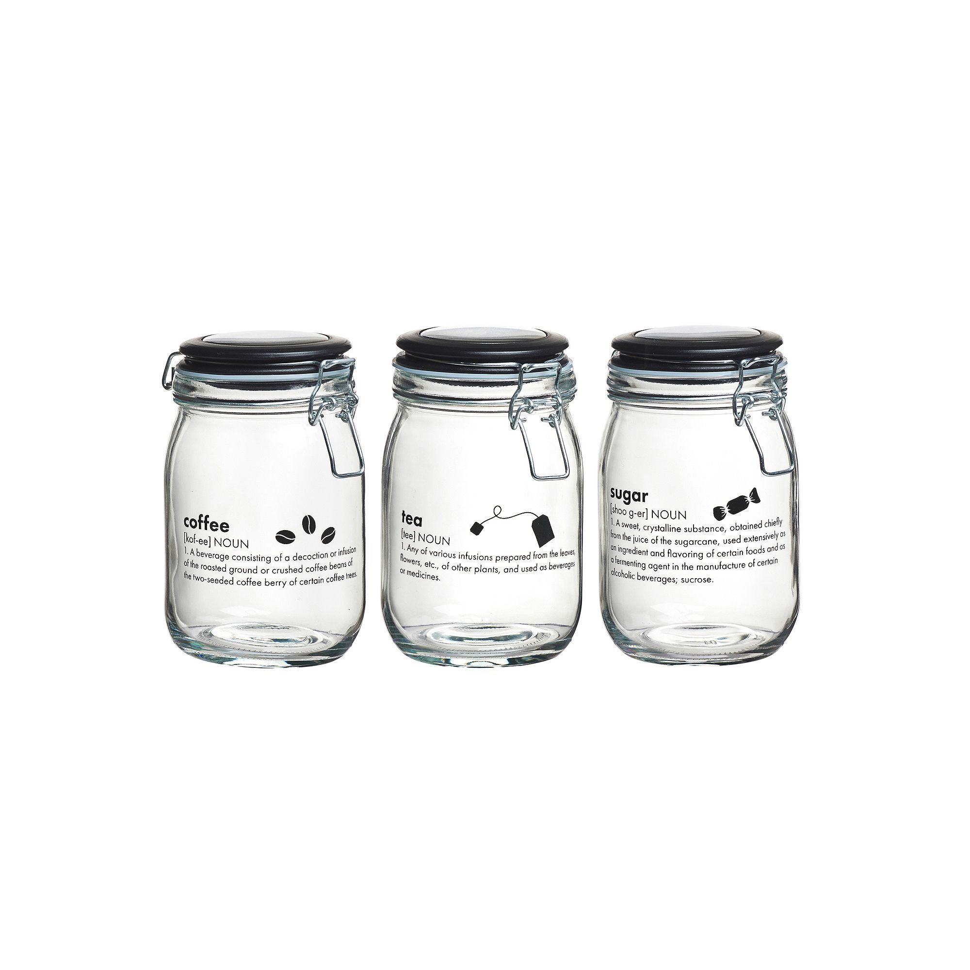 Global Amici Oxford Kitchen 3 Pc Hermetic Glass Storage Jar Set,