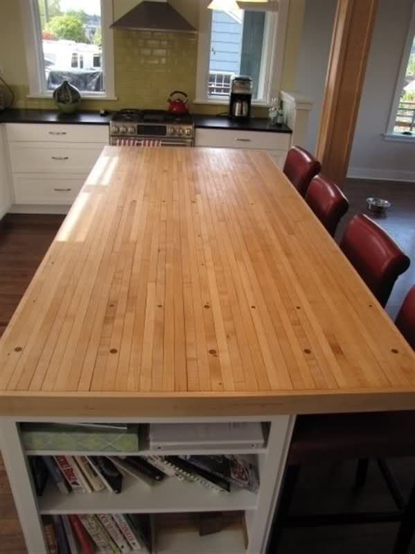 Kitchen Island Top Made From Old Bowling Alley Section.