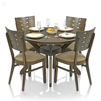 Buy Dining Table Set with 4 Chairs Solid Wood - Round Online India ...