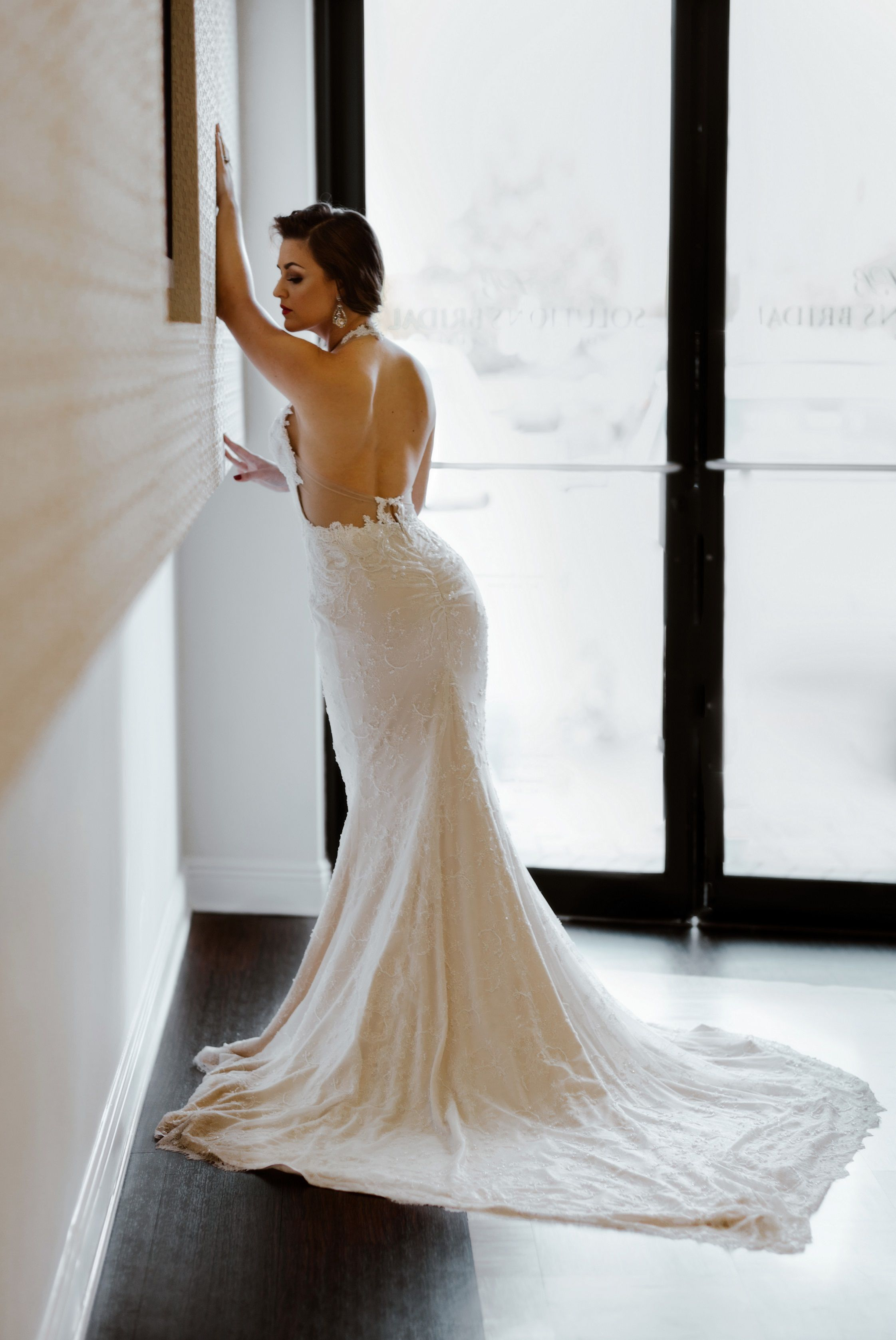 Low back with plunging neckline lace wedding dress from solutions low back with plunging neckline lace wedding dress from solutions bridal in orlando fl ombrellifo Choice Image