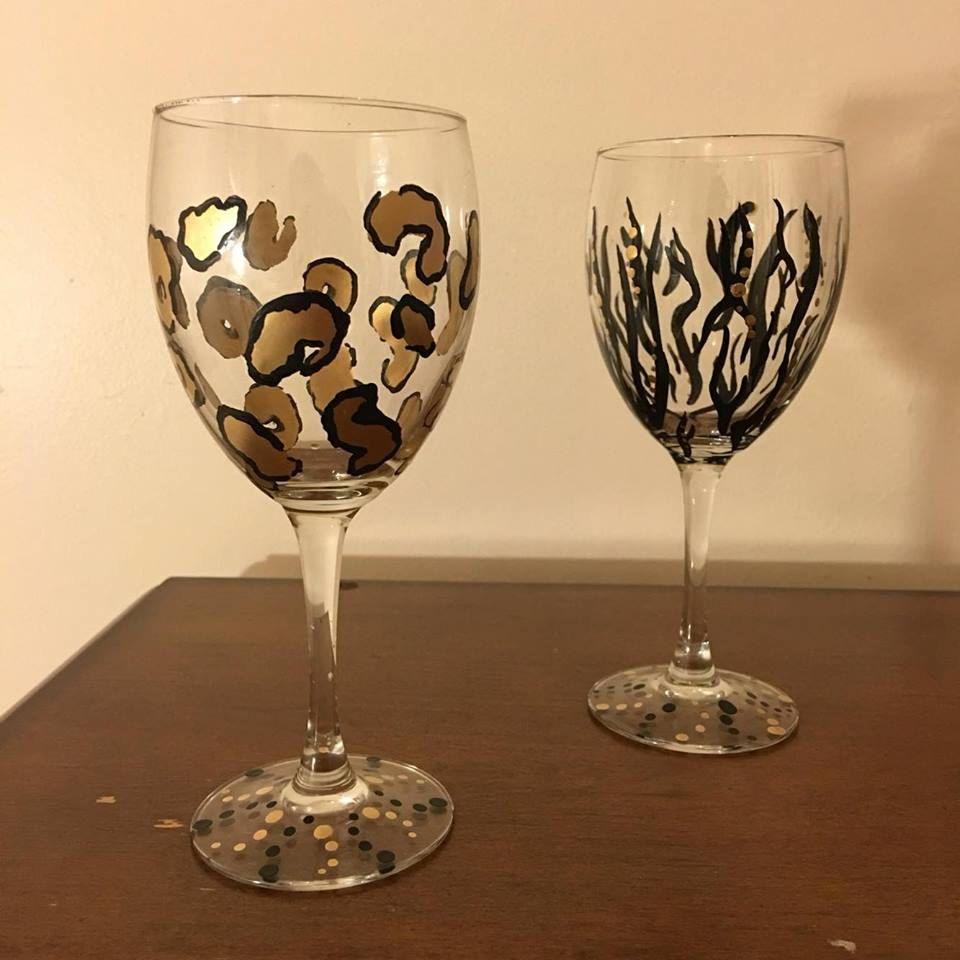Wild Wine Glass Set by HakunaMoscatoArt on Etsy