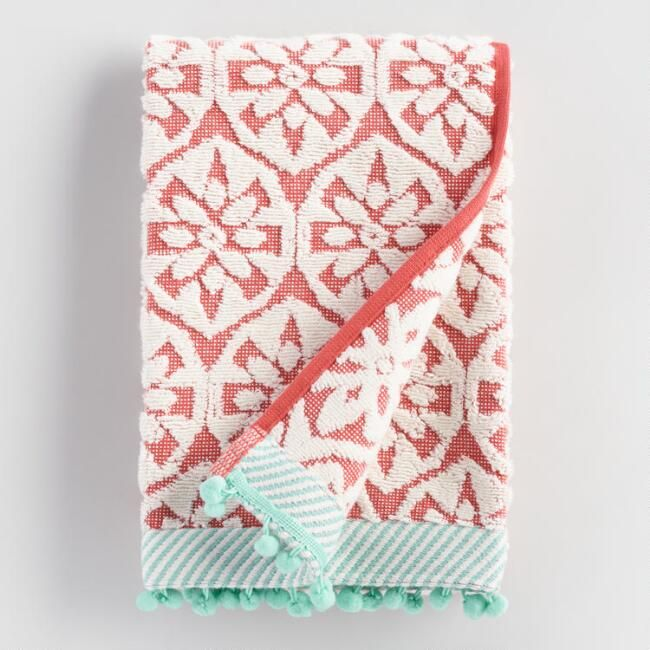 Coral And Aqua Orchid Foulard Sculpted Hand Towel V1 With
