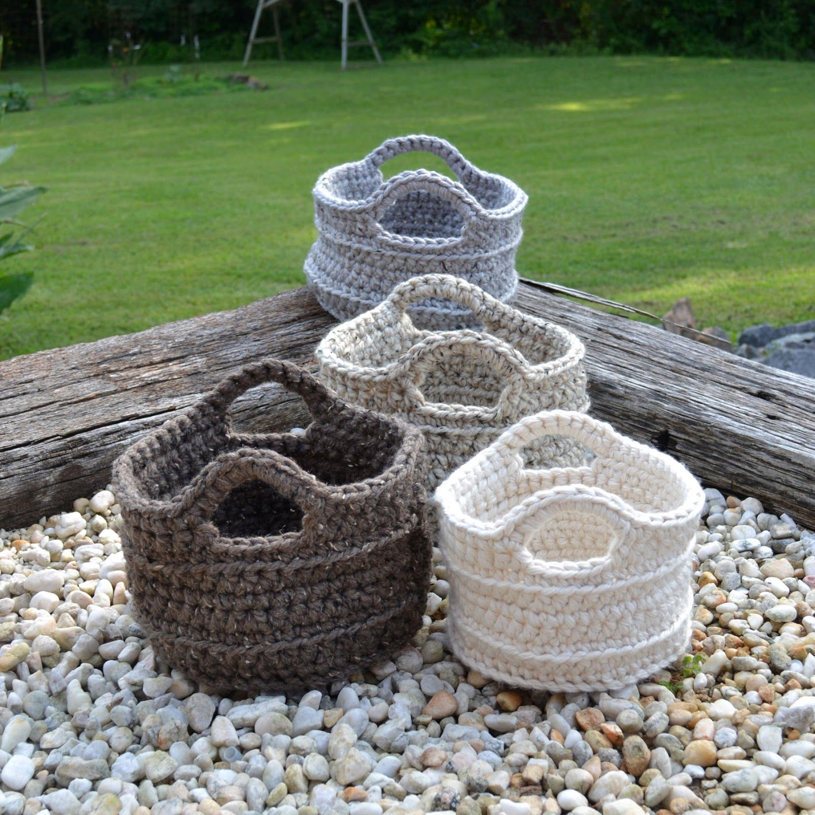 Diy Rag Rug Basket: Crochet In Color: Each Made In Different Size Needles
