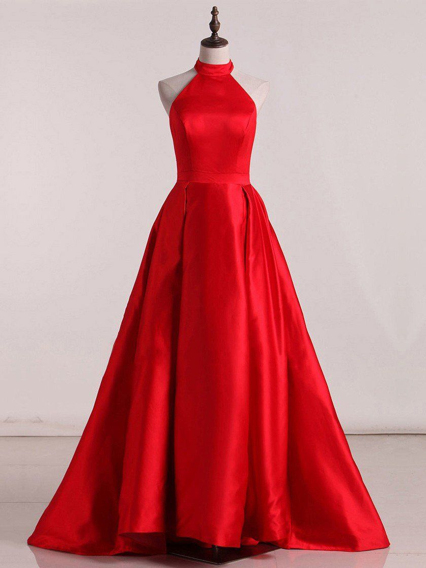 aline prom dresses long simple red high neck prom dress