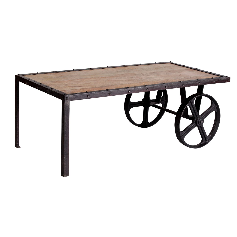Prestington Terrace Industrial Wheel Coffee Table