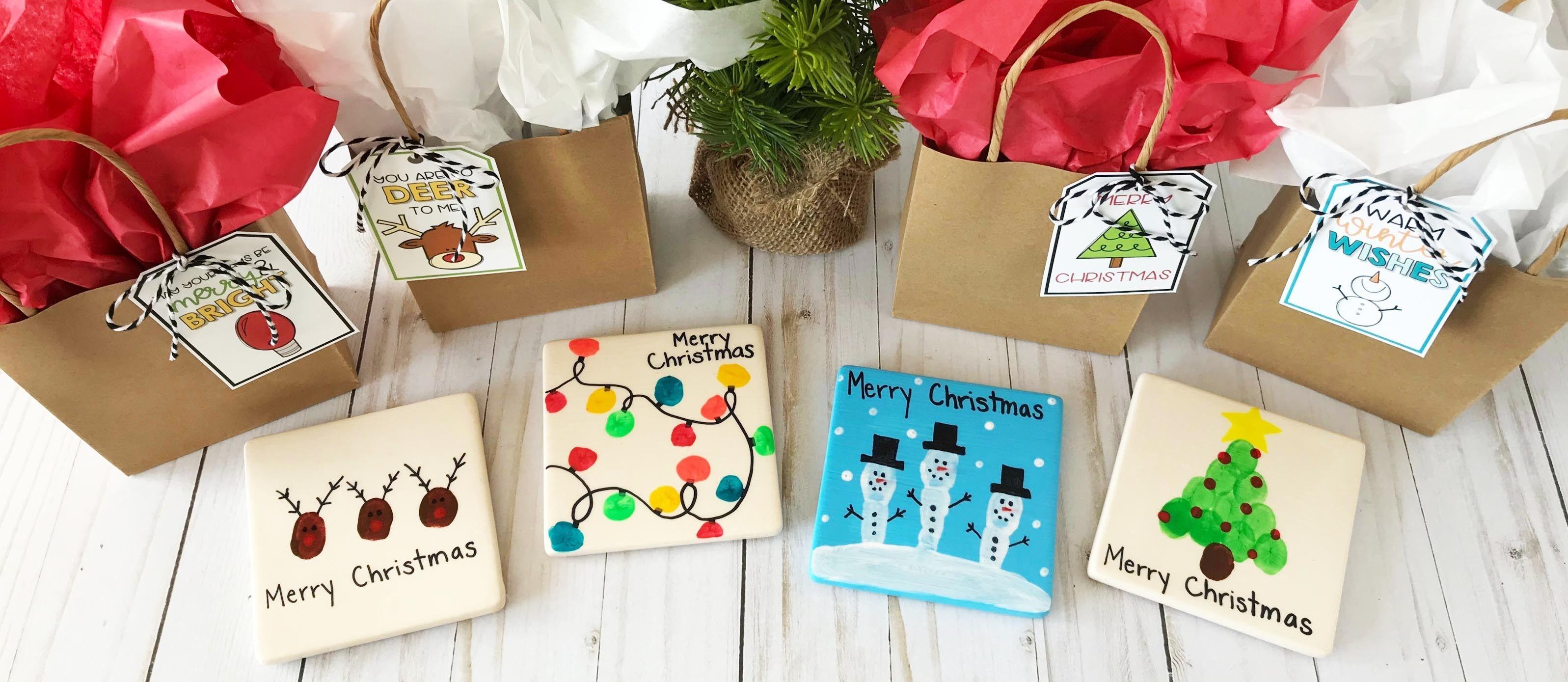 4 Christmas Fingerprint Coasters