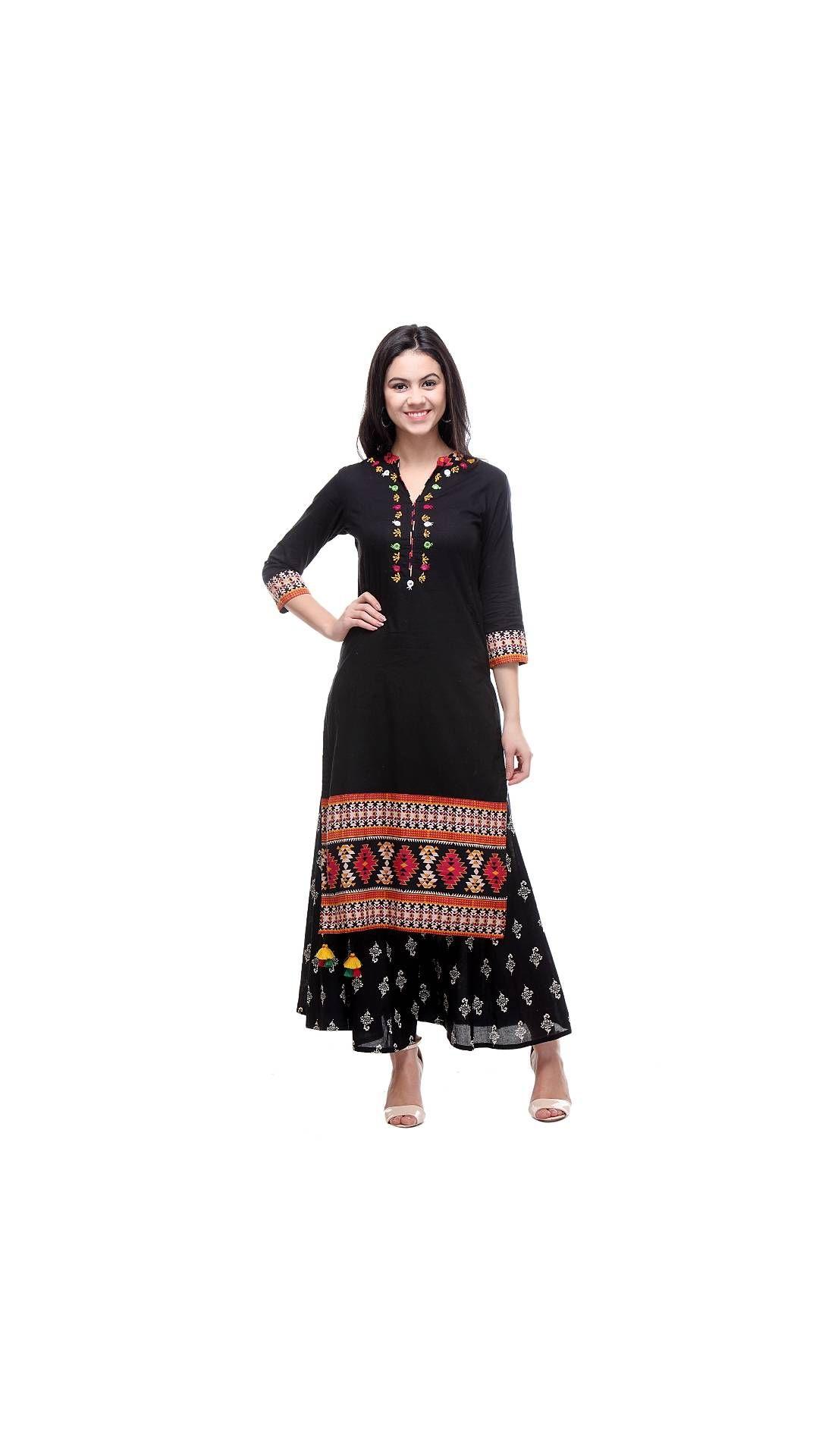 6fe4094507e1 Varanga Black Embroidered Cotton Chinese/Mandarin Collar 3/4 Sleeve ...