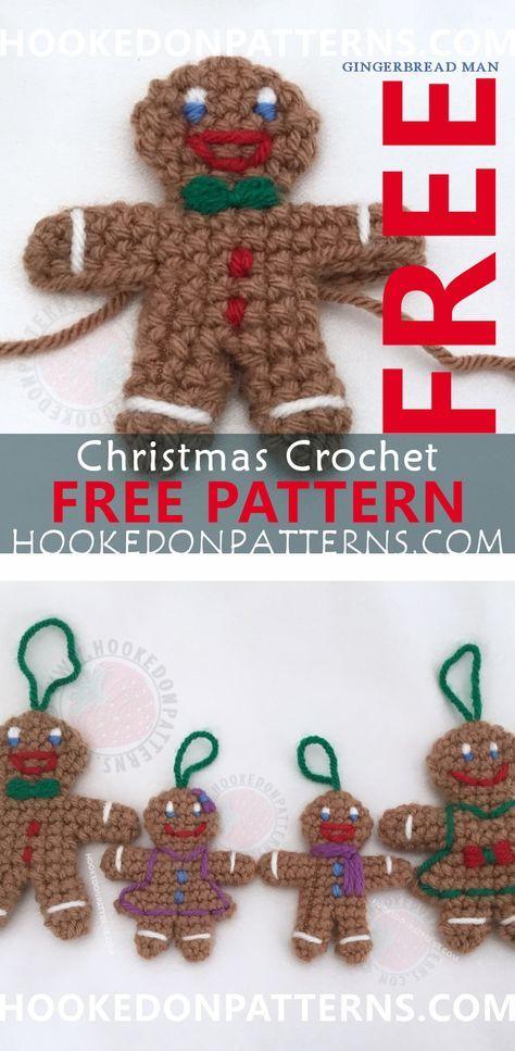 Gingerbread Man Free Crochet Pattern Christmas Crochet Patterns
