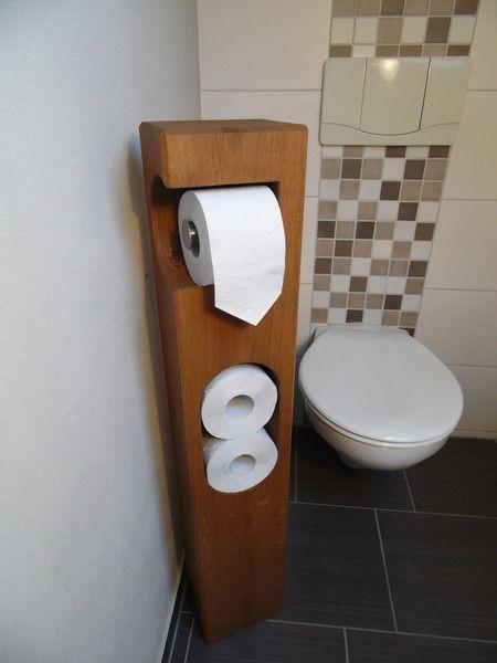 Klopapierhalter Toilettenpapierhalter Holz Eiche Ein