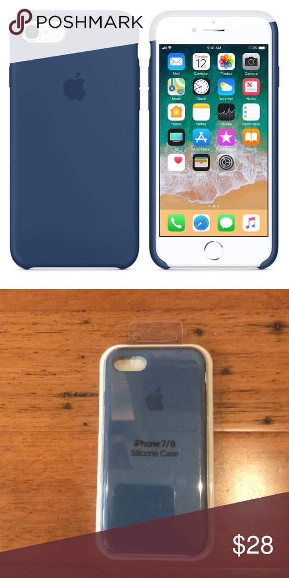 Cobalt Blue Apple Silicone Iphone 8 7 Case Iphone Apple Iphone 5s Phone Case Accessories