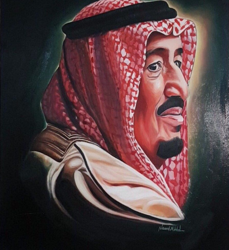 بورتريه ل الملك سلمان للفنان نواف الدبل King Queen Prince Mohammed Zelda Characters