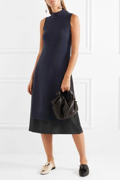 Joy Layered Wool And Cashmere-blend And Silk-crepe Dress - Blue Joseph WuwZhC