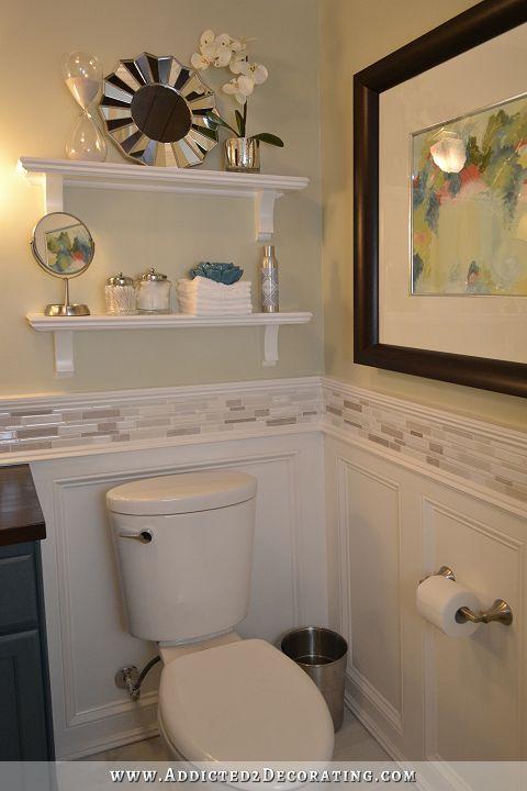 Hallway bathroom remodel before after shelving for Hallway bathroom ideas
