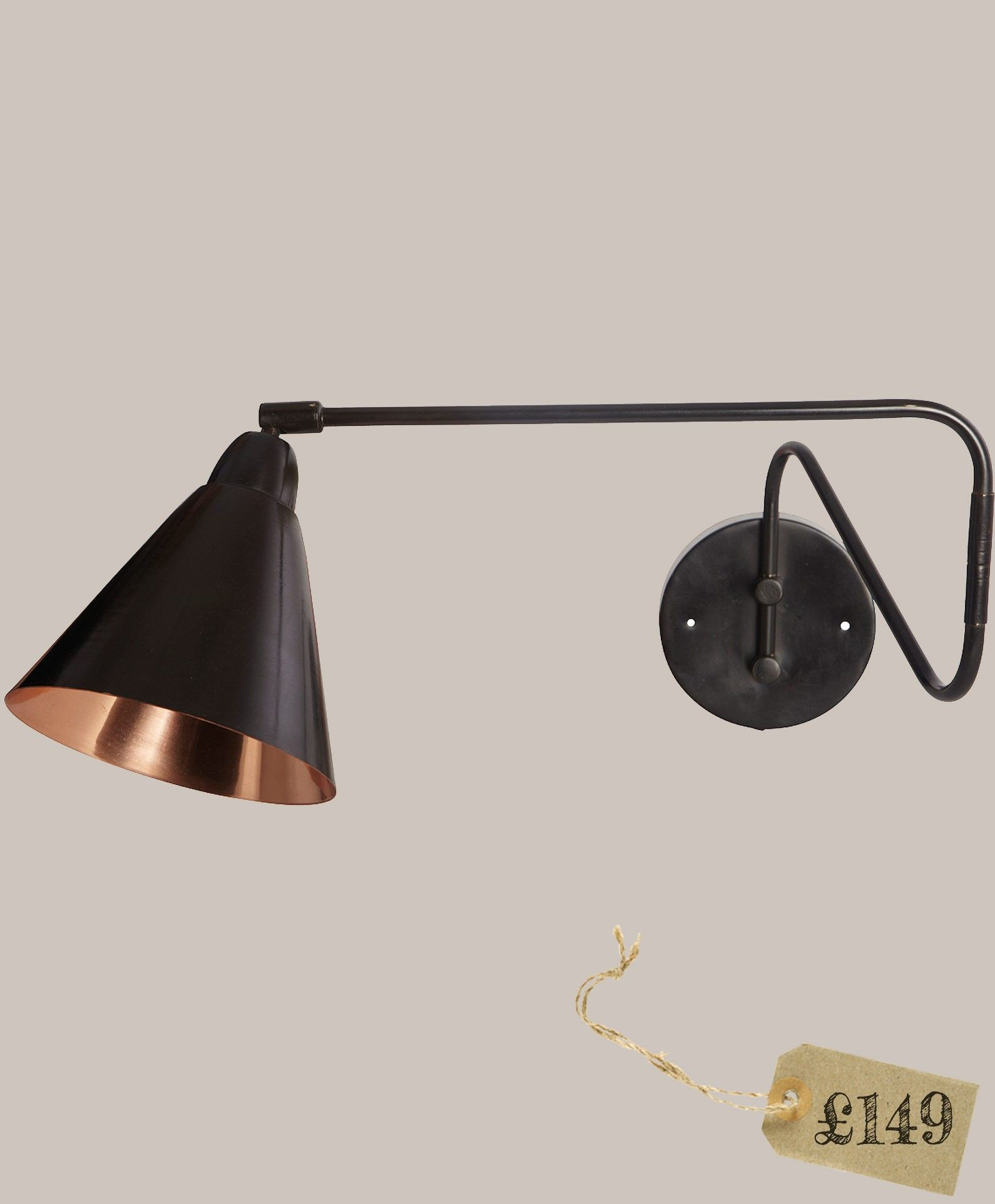Felix Swing Arm Light From Olive Tree Copper Wall Light Wall Lights Industrial Style Wall Lights