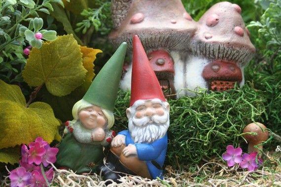 Miniature Garden Gnomes Concrete Vintage Style Mr Mrs