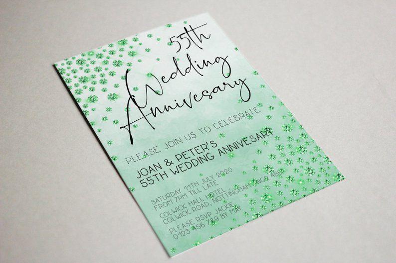 55th anniversary invitation emerald wedding printable
