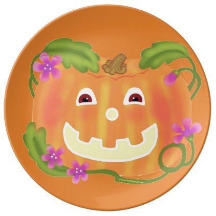 #Happy Pumpkin porcelain plate - #Halloween #happyhalloween #festival #party #holiday