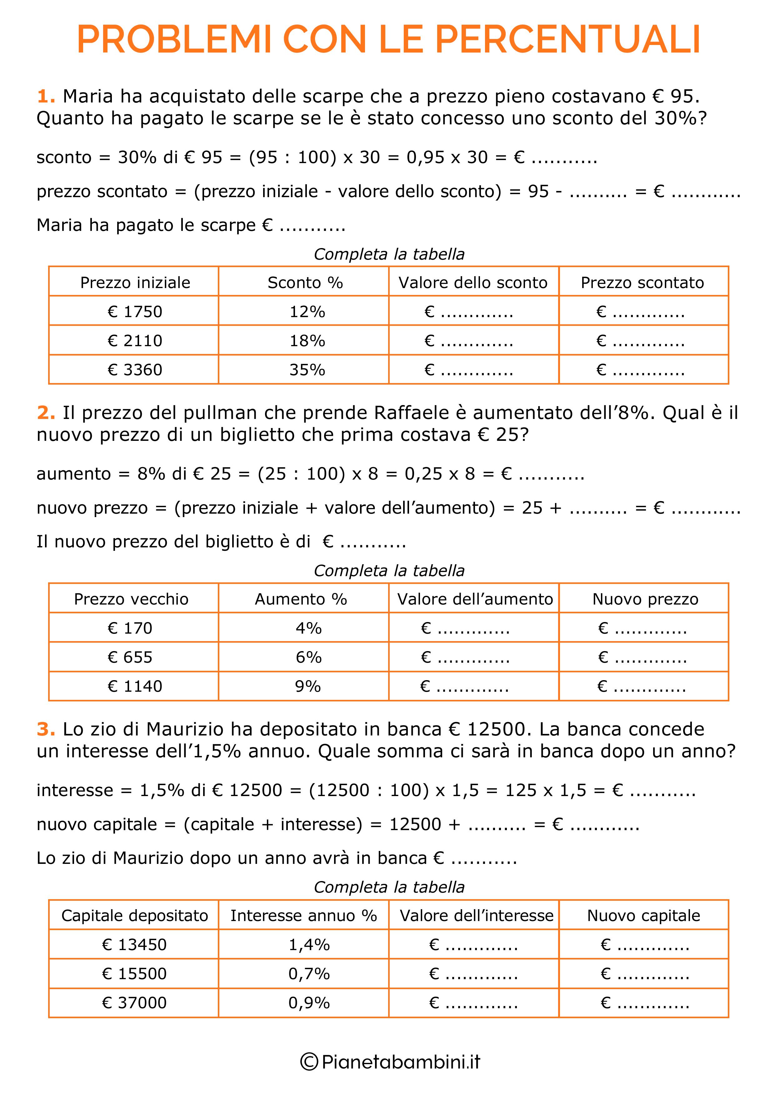 Problemi-Percentuali-1.png 2.480×3.508 pixel | Scuola ...