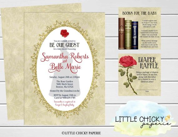 Beauty and the Beast Baby Shower Invitation Bundle, Princess Belle Baby Shower Set, Diaper Raffle Card, Book Request, Digital Invitation