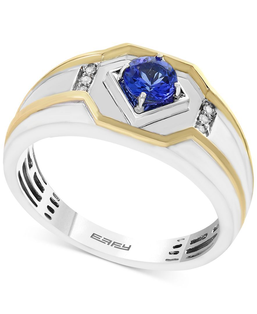 tz mens yellow meg ct itm ring s bl ov tanzanite sapphire plated gold y blue silver men