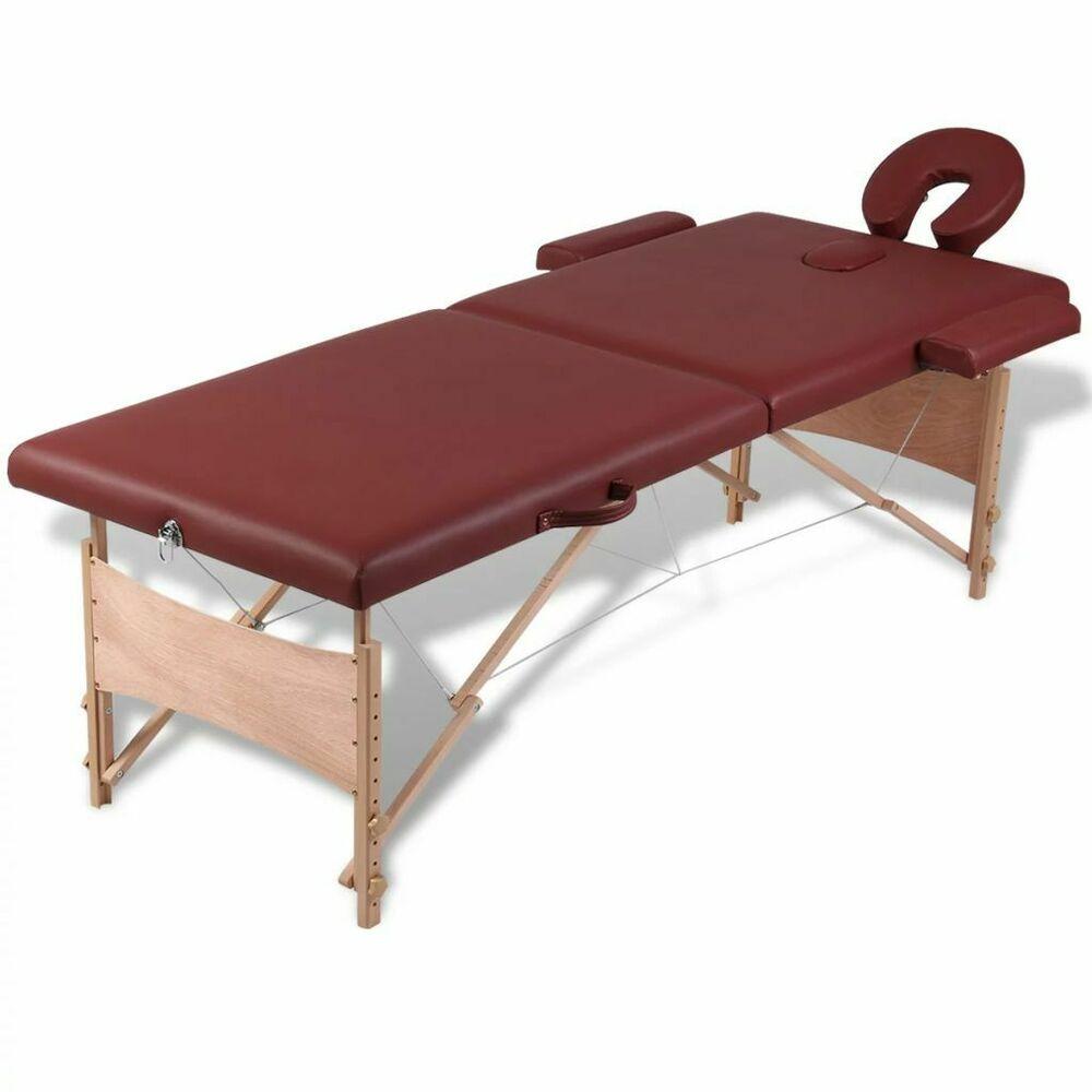 Massage Table Lettino Pieghevole Da Massaggio Rosso 2 Zone Con Telaio Legno Table Pliable Table De Massage Cadre En Bois
