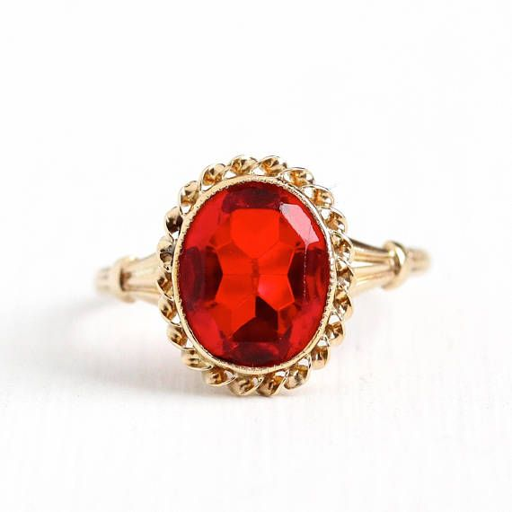 Reserved Sold To Regan Via Store Credit Resize Up To Size 8 Simulated Ruby Ring Vintage 10k Rosy Yellow Gold Art Deco 1940s Size 5 1 4 Ruby Ring Vintage Rings Twisted Metal