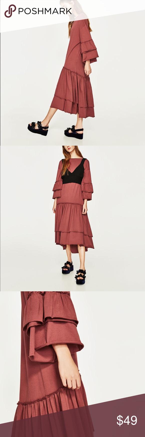 Zara dark pink long frilly dress frilly dresses zara dresses and